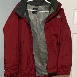 Dark Red North Face Rain Jacket/Shell